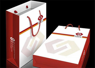 Folding White Gift Bags / Striped Shopping Paper Bag Custom Size And Printing